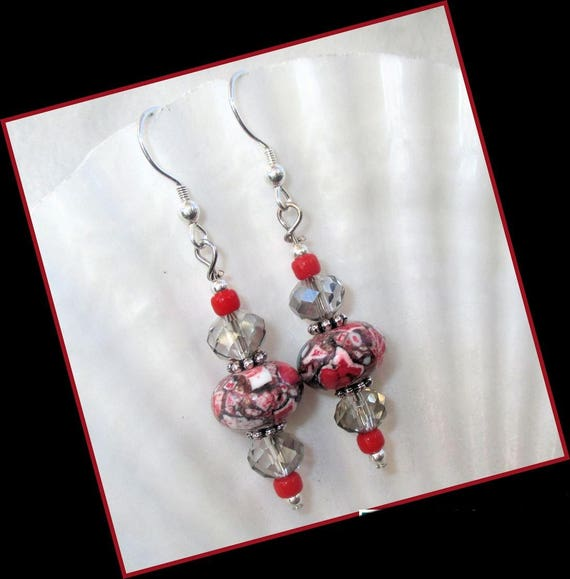 Red and Black Earrings, Magnesite Stone Earrings, .925 Silver Earrings, Mosaic Bead Gift for Her 2-1/4in, Matching Necklace Available