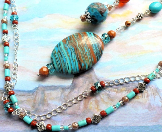 Turquoise Gemstone Pendant Necklace, Larimar Jasper and Howlite Necklace, 17 inches long