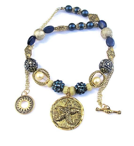 Blue and Gold Starfish Pendant Chain Necklace, Cream and Blue Pearl Necklace, 21 inches long / Matching Bracelet Available