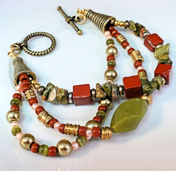 Gemstone Bracelet, Multistrand Green Brown Jewelry, Serpentine Bracelet, Bohemian Girlfriend Gift, One of a Kind Gift for Her, Custom Length