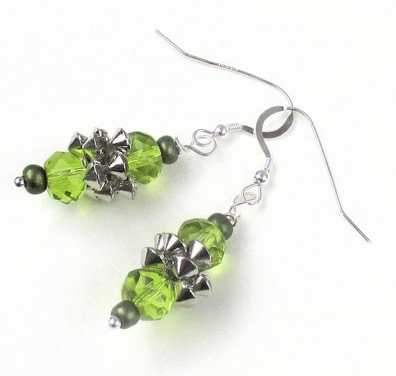 Green Glass Earrings, Dressy Rhinestone Earrings, Glittery Fancy Earrings, Silver Earrings, Gift for Her 2in. / Matching Bracelet Available