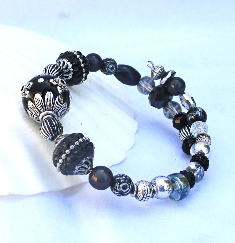 Black and Silver Big Bead Expandable Bracelet with Bold Chunky image 0