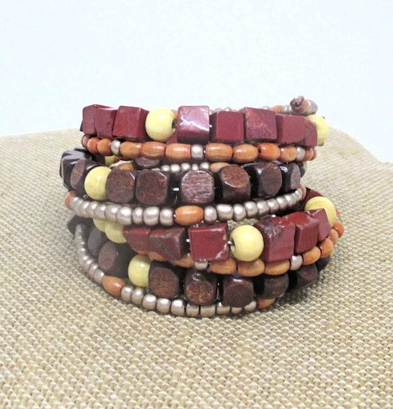 Boho Wood Bracelet Women, Brown Bracelet, Multistrand Coil Bracelet, Wooden Bracelet, Chunky Jewelry, Gift for Her, One Size Fits Most