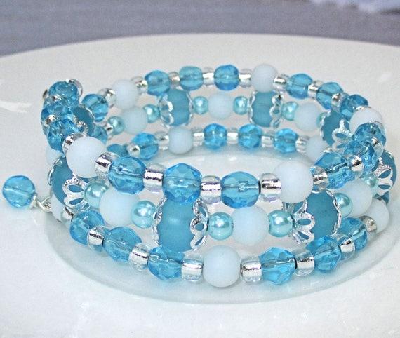 Aqua Bracelet, Multistrand Bracelet, Turquoise White Blue Jewelry, Pearl Braclet, Triple Strand Bracelet, Gift for Her / One Size Fits Most