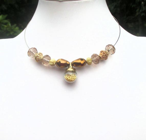 Choker Necklace, Crystal Jewelry, Bronze Necklace, Chunky Chokers for Women, Choker Collar, Metallic Necklace, One of a Kind Gift for Her