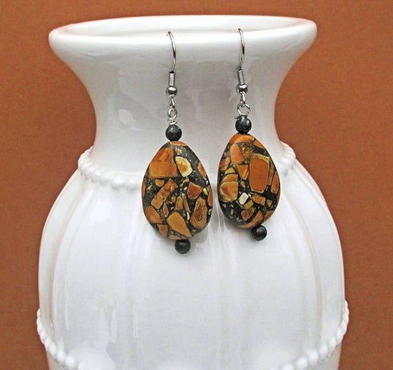 Orange Gemstone Earrings, Mosaic Teardrop Earrings, Hypoallergenic Nickelfree Orange Earrings, Gift for Her 2in/ Necklace Bracelet Available