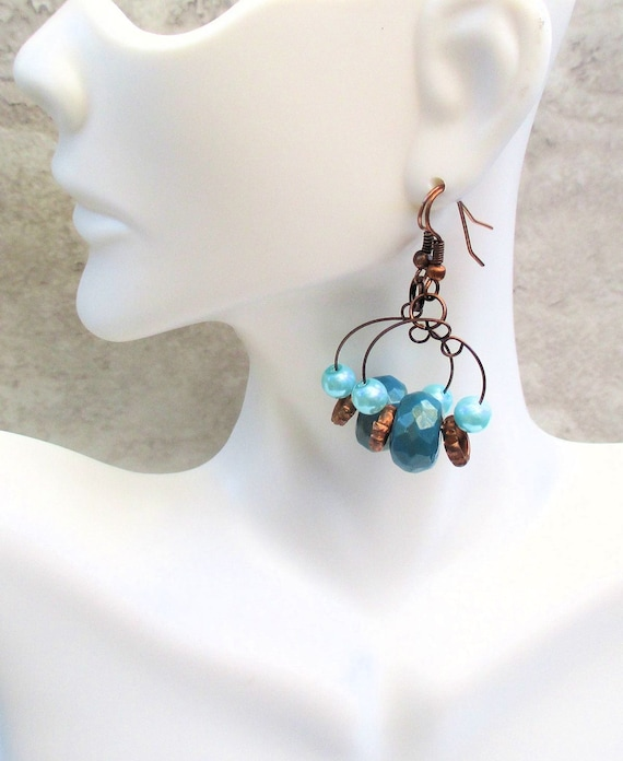 Copper and Turquoise Hoop Earrings, Teal Bohemian Gypsystyle Earrings, 2 inches long