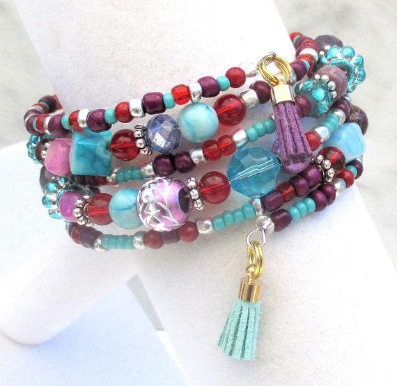 Multicolor Bracelet, Turquoise Purple Red Bracelet, Colorful Coil Bracelet, Memory Wire Tassel Bracelet, Gift for Her, One Size Fits Most
