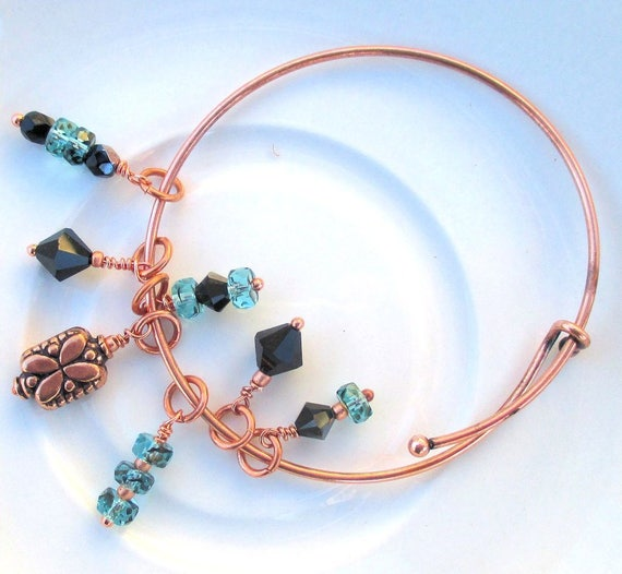 Expandable Copper Bangle, Stackable Gemstone Charm Bracelet, Glass Hematite Crystal Turquoise Blue Teal Bracelet, Wrist 6-1/2 to 7-1/2in