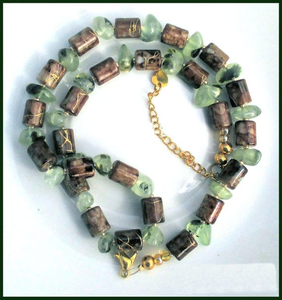 Green Brown Gemstone Necklace, Prehnite Jewelry, Adjustable Ceramic Bead Necklace, Gift for Her 16-18in / Matching Earrings Available