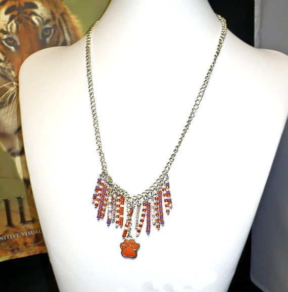 Orange and Purple Necklace with Orange Paw Charm, Beaded Fringe Necklace, Chain Necklace, Orange White Purple, 18-1/2 to 23-1/2 inches
