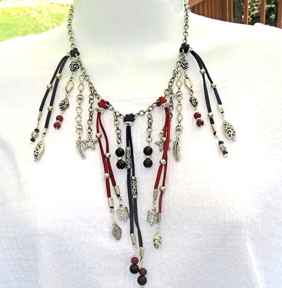 Fringe Necklace, Bib Necklace, Red Blue Gemstone Necklace, Suede Cord Tribal Jewelry, Adjustable Chain Necklace, Gift for Her 19-24in