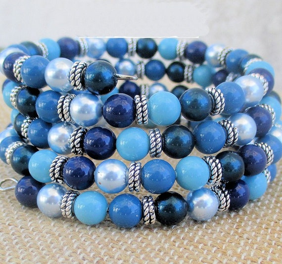 Blue Multistrand Bracelet, Stacked Bracelet, Turquoise Blue Glass Pearl Jewelry, Coil Bracelet, OOAK Gift for Her, One Size Fits Most