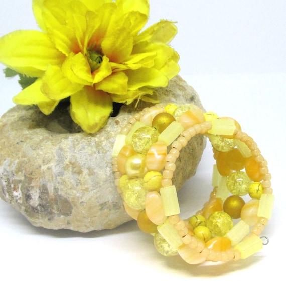 Yellow Coil Bracelet, Yellow Memory Wire Bracelet, Multistrand Beaded Bracelet, Lemon Yellow Wrap Around Bracelet, One Size Fits Most