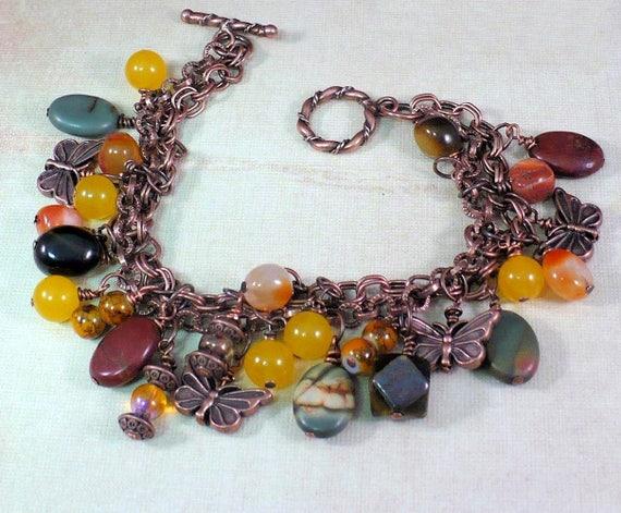 Charm Bracelet, Gemstone Jewelry, Copper Chain Bracelet, Bohemian Jewelry, Butterfly Bracelet, One of a Kind Gift for Her, Custom Sized