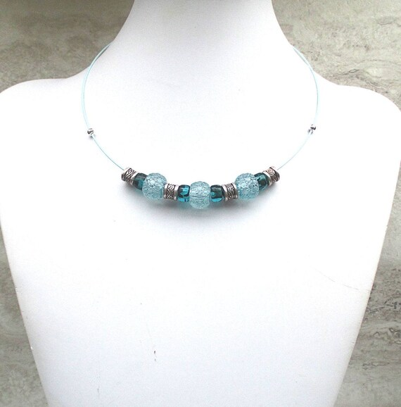Blue Teal Beaded Choker Necklace on Stainless Steel Wire, 18 inches