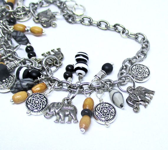 Silver Elephant Ganesha Charm Bracelet for Elephant Lovers, 6in wrist and up