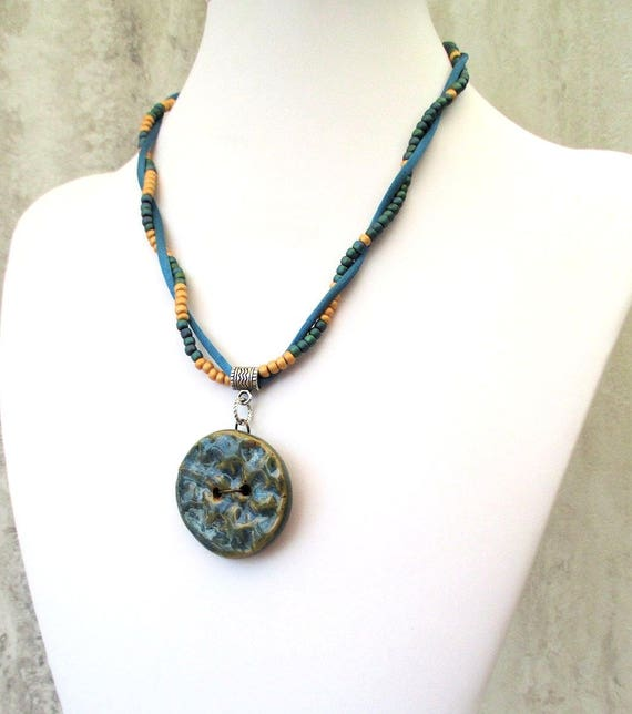 Stoneware Pendant Necklace, Ceramic Button Necklace, Satin Cord Necklace, Bohemian Tribal Necklace, Funky Hippie Jewelry 18 to 20-1/2in