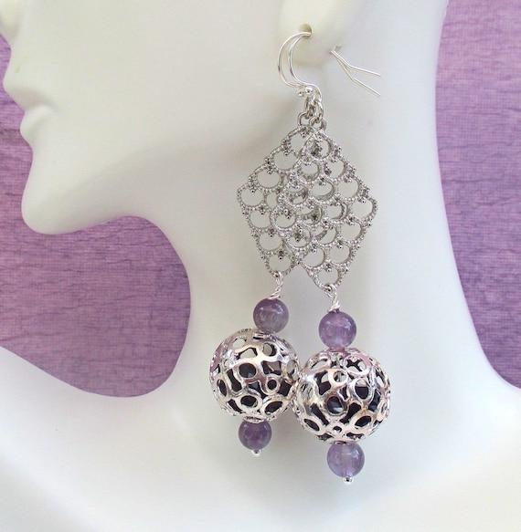 Amethyst Earrings Silver, Purple Dangle Earrings, Long Gemstone Earrings, Caged Crystal Earrings, 925 Silver Filled Boho Jewelry 3in