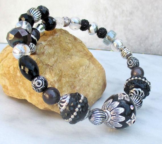 Black and Silver Bracelet, Big Bead Bracelet, Bold Chunky Bling Bracelet, Jesse James Beads Bracelet, Gift for Her, Wrist 6-3/4 to 7-3/4 in