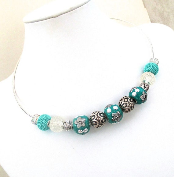 Chunky Teal Necklace, Jesse James Bead Jewelry, Turquoise Boho Necklace, Large-Bead Hoop Necklace, Bold Blue Teal Statement Necklace 18in