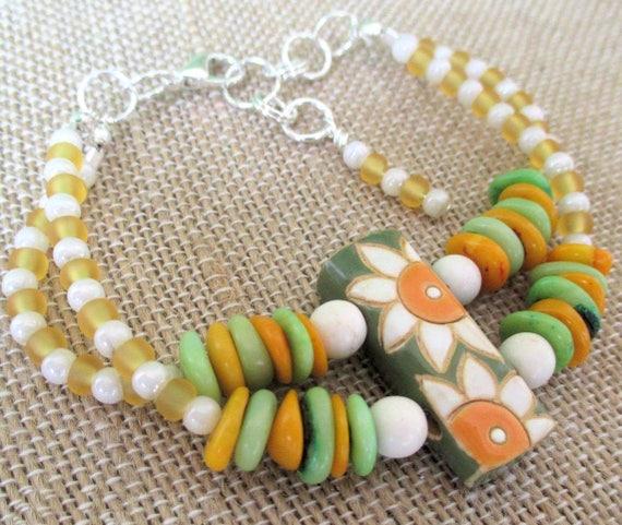 Orange and Green Bracelet, Beaded Ceramic Bead Bracelet, Flower Bracelet, Funky Jewelry, One of a Kind Gift for Her, Adjustable Length