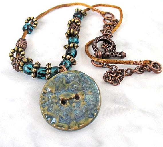 Blue Bohemian Necklace, Long Stoneware Button Necklace, Blue Pendant Necklace, Satin Cord Necklace, Funky Hippie Statement Jewelry 25in