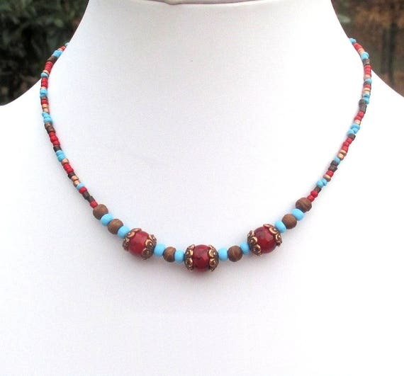 Beaded Choker Necklace, Bohemian Jewelry, Copper Necklace, Red Blue Necklace, Glass Bead Necklace, Gift for Her 15-1/2in