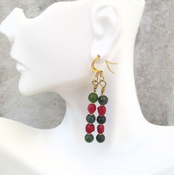 Red and Green Christmas Earrings with Hypoallergenic Nickel Free Hooks, Coral Holiday Jewelry, 2-1/2 inches, Matching Necklace Available