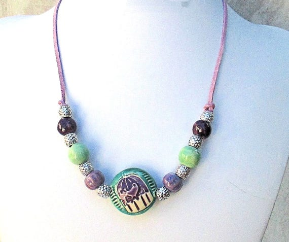 Ceramic Bird Necklace, Suede Cord Necklace, Lilac Purple Jewelry, Teal Green Bohemian Necklace, Purple Ceramic Necklace, Gift for Her 21in