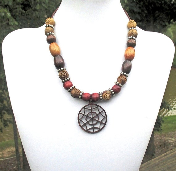 Wood Pendant Necklace, Bohemian Jewelry, Brown Leather Cord Necklace, Wood Bead Necklace for Women, Native Necklace, Gift for Her 15-17in