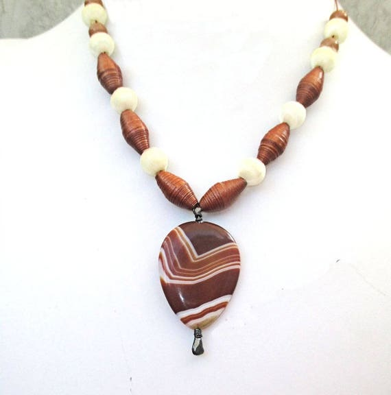 Gemstone Necklace, Teardrop Pendant Necklace, Brown Caramel Bohemian Necklace, Paper Bead Necklace, Silk Bead Jewelry, 18in or longer