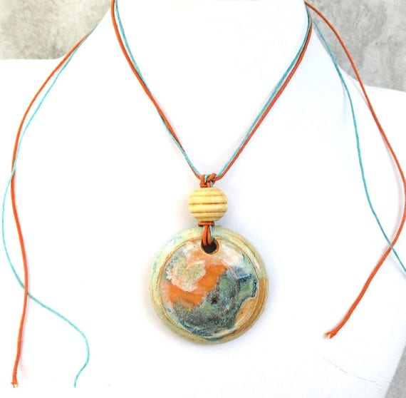 Orange and Turquoise Pottery Pendant Necklace on Linen Cord, Custom Length