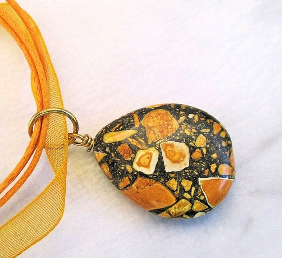 Orange and Dark Green Gemstone Pendant Necklace with Yellow-Orange Ribbon and Cord, Agate Statement Jewelry, Adjusts 17 to 18-1/2 inches