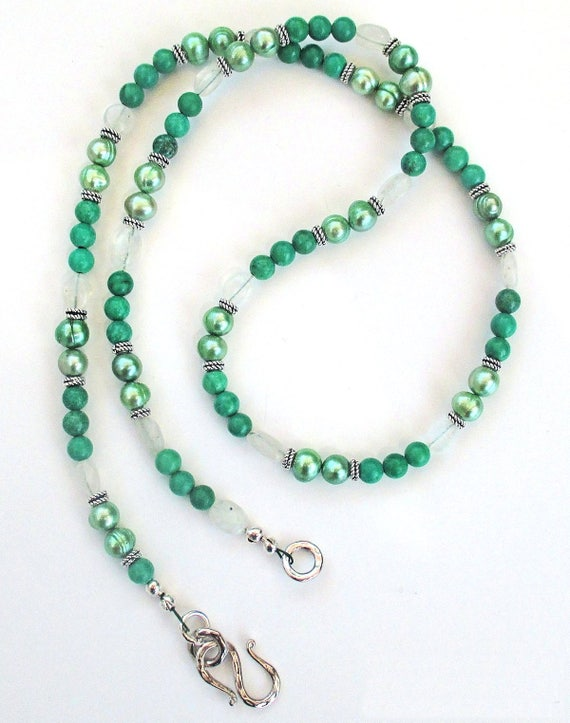 Green Turquoise Necklace, Multistrand Necklace, Moonstone Jewelry, Cultured Pearl Necklace, Long Necklace 27in, Matching Earrings Available