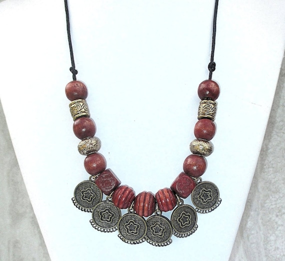 Long Tribal Necklace, Bohemian Jewelry Necklaces, Wood Metal Bead Necklace, Long Beaded Cord Necklace, Heavy Necklaces for Women 24in
