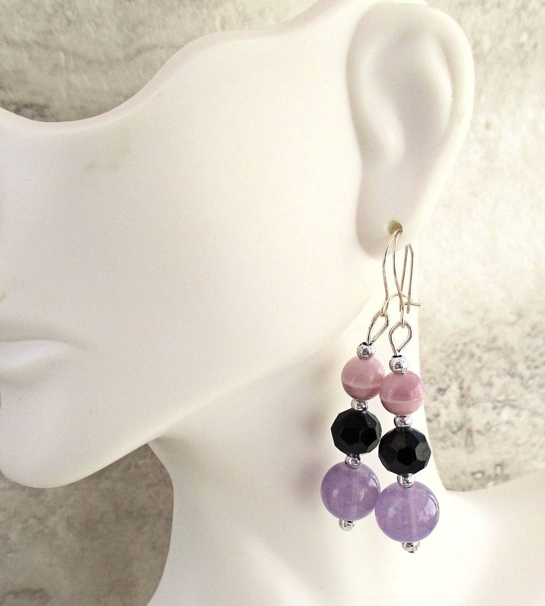 Purple Earrings with Sterling Silver Kidney Wires Lilac Drop image 0