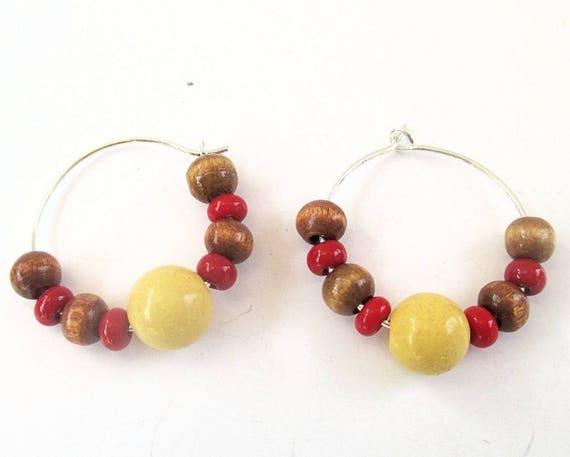 Gemstone Hoop Earrings Jade Agate Serpentine Stone Silver Filled Anti Tarnish Metal Wood Glass Yellow Brown Red Silver Boho Folk Jewelry