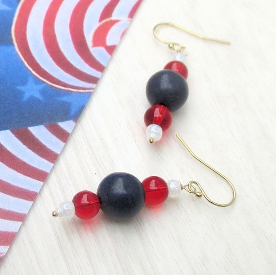 Red White and Blue Earrings, Fourth of July 4th of July Earrings, Independence Day Jewelry, 14K Gold Filled Patriotic Earrings 2-3/4in