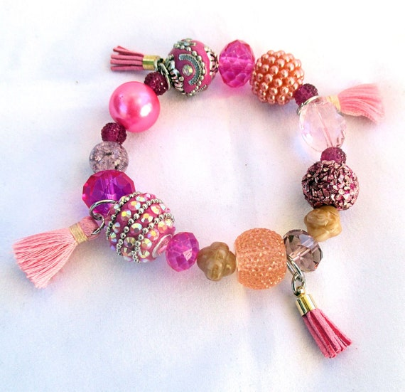 Hot Pink Fuchsia Stretch Bracelet with Pink Tassels, Crystals, and Rhinestones, Best Fit for 6-7 inch Wrist