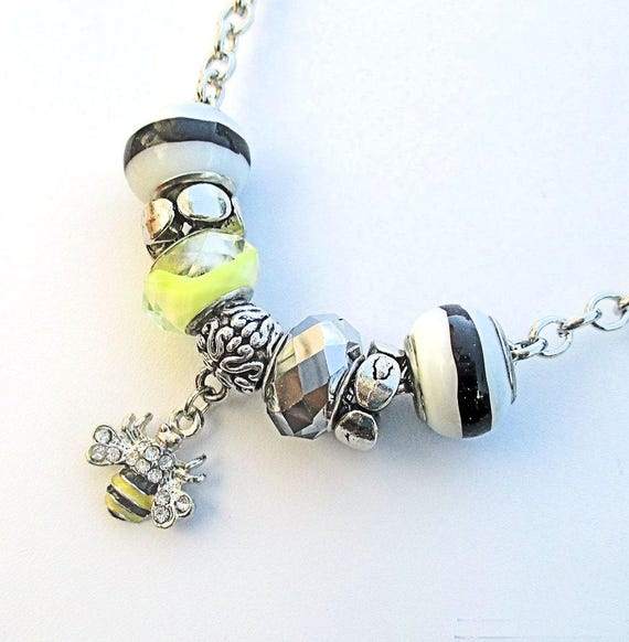 Bee Charm Necklace, Silver Chain Necklace, Honey Bee Necklace, Black Yellow Bead Jewelry, Bumble Bee Necklace, Queen Bee Gift for Her 19in