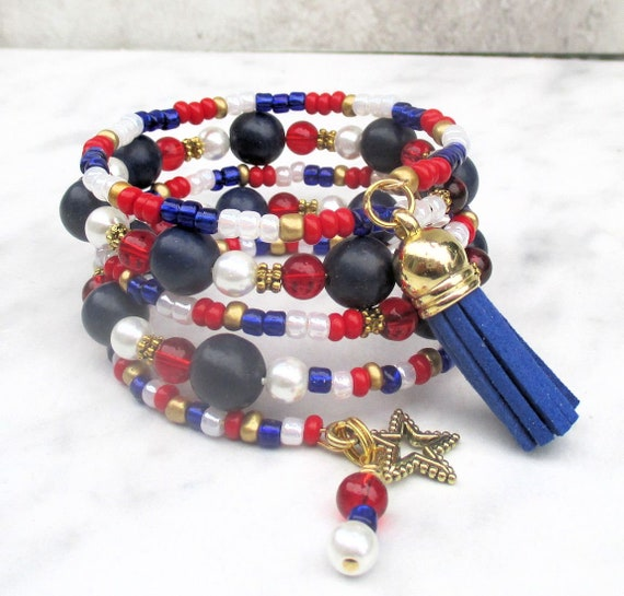 Red White and Blue Bracelet, 4th of July Jewelry, Gold and Blue Tassel Bracelet, Patriotic Bracelet, Independence Day, One Size Fits Most