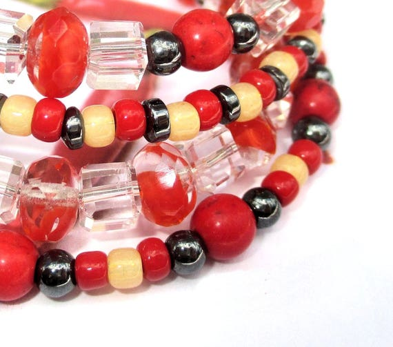 Red Bracelet, Multistrand Bracelet, Multicolor Stone Bracelet, Christmas Gift for Her / One Size Fits Most, Matching Necklace Available