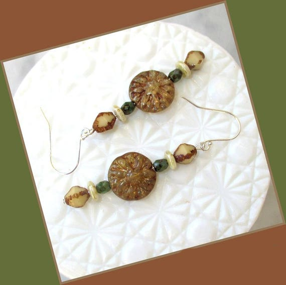 Sterling Silver Brown and Green Czech Glass Earrings, 2-1/2 inches