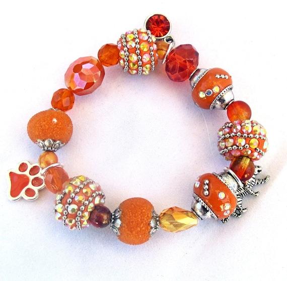 Orange Paw Tiger Charm Stretch Bracelet, Best Fit for 6-7 inch Wrist
