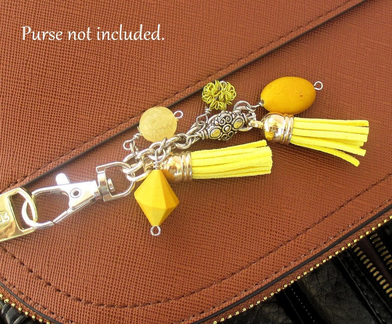 Yellow Suede Tassel Purse Charm with Dangles for Handbag image 0