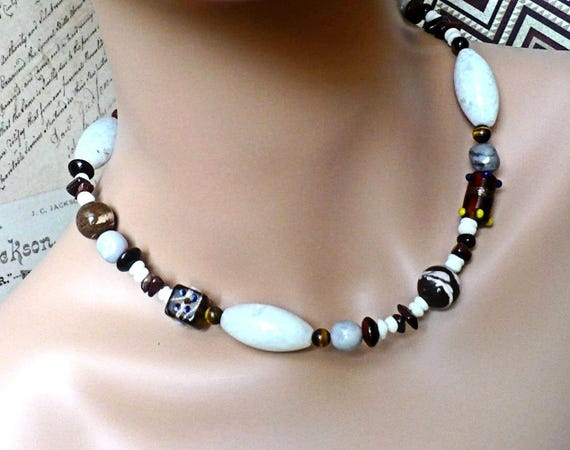 Chunky White & Brown Gemstone Necklace with Tigers Eye and Agate, Tribal Style Bohemian Jewelry, Gift for Women, Gift for Her 19-1/2in