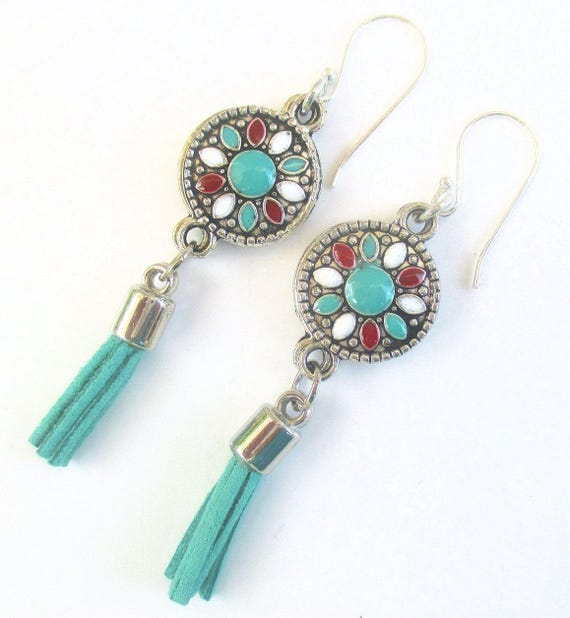 Tassel Earrings, Silver Filled Bohemian Jewelry, Trendy Jewelry, Hippie Earrings, Colorful One of a Kind Christmas Gift for Her 2-1/2in