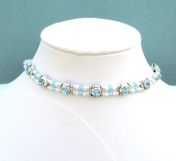 Aqua Necklace, Aquamarine Crystal Jewelry, Short Necklace Choker, Crystal Pearl Elegant Jewelry, March Birthday Gift for Her, 14 to 16in