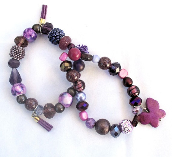 Purple Stretch Bracelets, Set of Two Elastic Bracelets with Butterfly and Tassel Charms, Best Fit for 6-7 inch Wrist